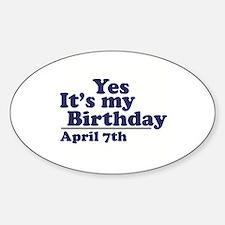 April 7 Birthday Oval Decal