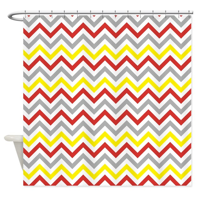 red and yellow chevron shower curtain by cuteprints. Black Bedroom Furniture Sets. Home Design Ideas