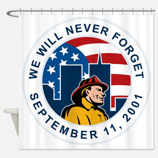 9-11 fireman firefighter american f Shower Curtain