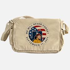 9-11 fireman firefighter american fl Messenger Bag