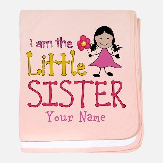 Little Sister Stick Figure Girl baby blanket