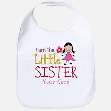 Little Sister Stick Figure Girl Bib