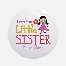 Little Sister Stick Figure Girl Ornament (Round)