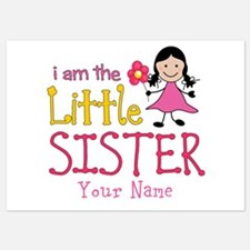 Little Sister Stick Figure Girl Invitations