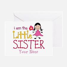 Little Sister Stick Figure Girl Greeting Card