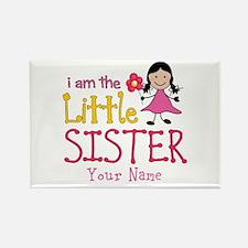 Little Sister Stick Figure Girl Rectangle Magnet