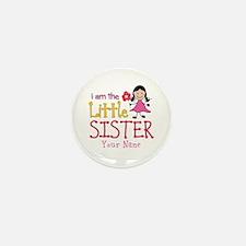 Little Sister Stick Figure Girl Mini Button (10 pa