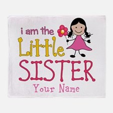 Little Sister Stick Figure Girl Throw Blanket
