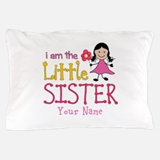 Little Sister Stick Figure Girl Pillow Case
