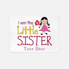 Little Sister Stick Figure Girl 5'x7'Area Rug