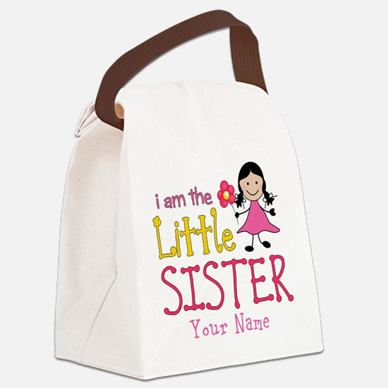 Little Sister Stick Figure Girl Canvas Lunch Bag