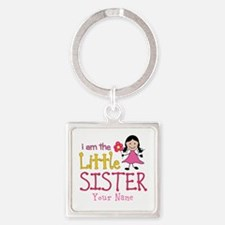 Little Sister Stick Figure Girl Square Keychain