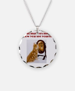cat-lion Necklace Circle Charm