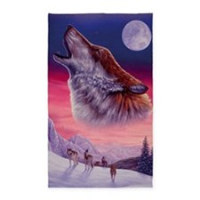 Wolf and Moon 3'x5' Area Rug