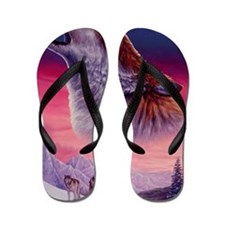 Wolf and Moon Flip Flops