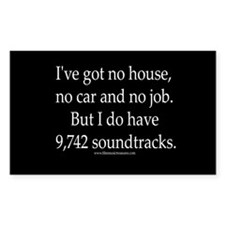 """9,742 soundtracks"" Rectangle Decal"
