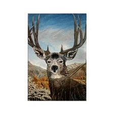 Mule deer oil painting Rectangle Magnet