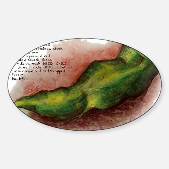 Grn_Chili_Stew_flat Sticker (Oval)