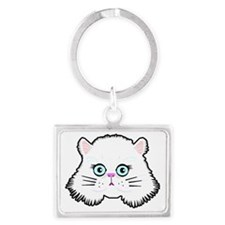 white kitten Landscape Keychain