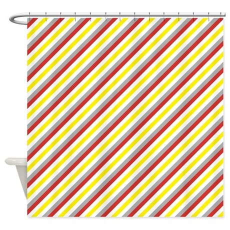 red and yellow diagonal stripes shower curtain by cuteprints. Black Bedroom Furniture Sets. Home Design Ideas