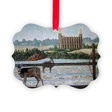 Logan temple oil painting 14x10 Ornament