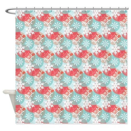 Red And Blue Snowflake Pattern Shower Curtain By CutePrints