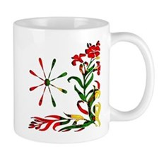 Red Yellow Green Tapestry Flowers Mug