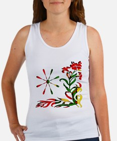 Red Yellow Green Tapestry Flowers Women's Tank Top