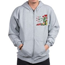 Red Yellow Green Tapestry Flowers Zip Hoodie