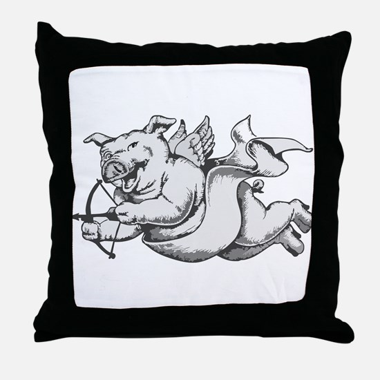 Flying Cupid Pig Valentine's Day Throw Pillow