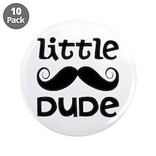 "Mustache Little Dude 3.5"" Button (10 pack)"