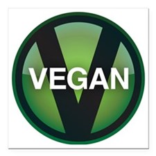 "VeganButton Square Car Magnet 3"" x 3"""