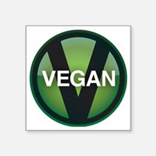 "VeganButton Square Sticker 3"" x 3"""