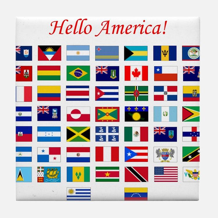 America flags pillow Tile Coaster