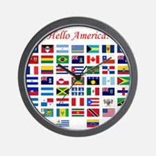 America flags pillow Wall Clock