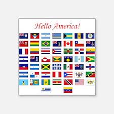 "America flags pillow Square Sticker 3"" x 3"""