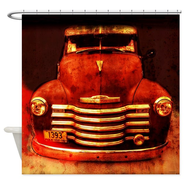 Vintage 1950 Chevy Truck Shower Curtain By Rebeccakorpita