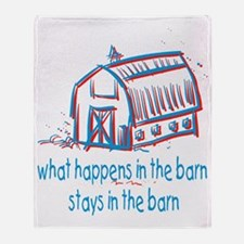 What happens in the barn Throw Blanket