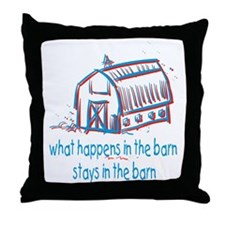 What happens in the barn Throw Pillow