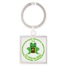 FAT FROG with a BIBLE Square Keychain