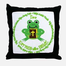 FAT FROG with a BIBLE Throw Pillow