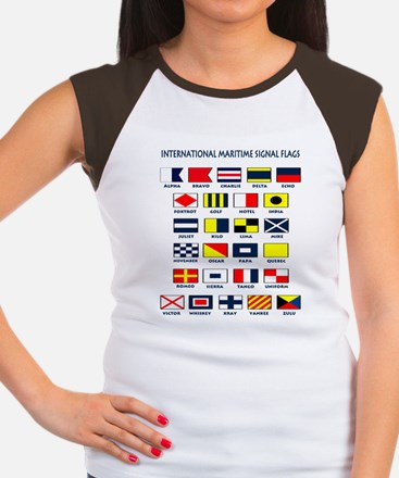 Maritime flags transpar Women's Cap Sleeve T-Shirt