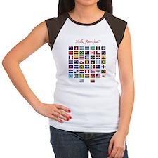 America Flags dark tee Women's Cap Sleeve T-Shirt