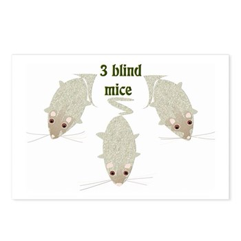 """""""3 Blind Mice"""" Postcards (Package of 8)"""
