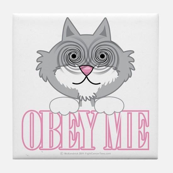 Obey-Me-Cat-blk Tile Coaster