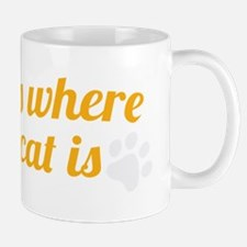 home is where your cat is_dark Mug