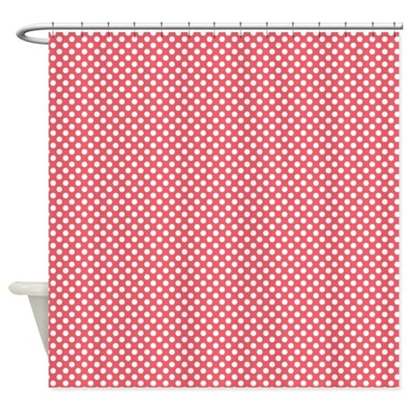 Red And White Polka Dots Shower Curtain By Cuteprints