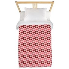 Pink Heart Squares Twin Duvet