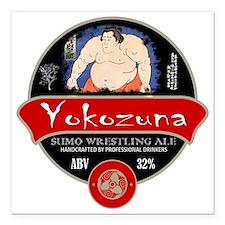 """Yokozuna Sumo Beer Square Car Magnet 3"""" x 3"""""""
