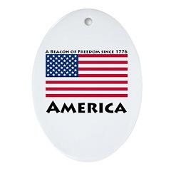 America Freedom Oval Ornament